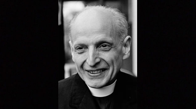 Black and white photo of Pedro Arrupe