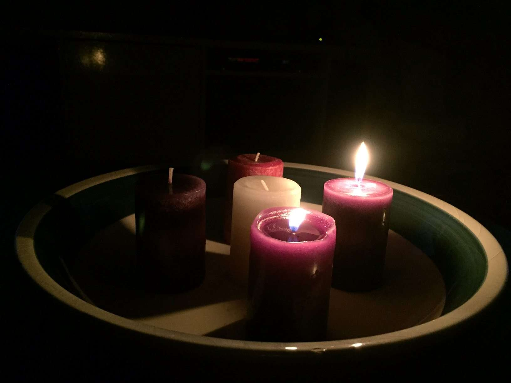 Advent week two - wreath with two purple candles lit. hope and peace