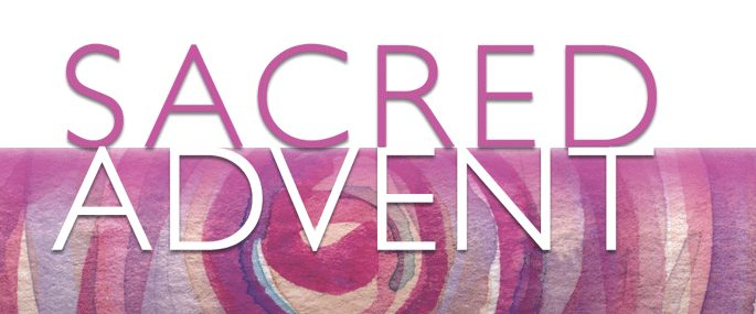 Sacred Advent. Pink and purple painted pattern background. Advent emails from Sacred Space.